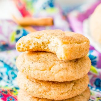 This Snickerdoodle Cookies recipe yields thick and chewy cookies that are sweet, tangy, and coated with cinnamon sugar.