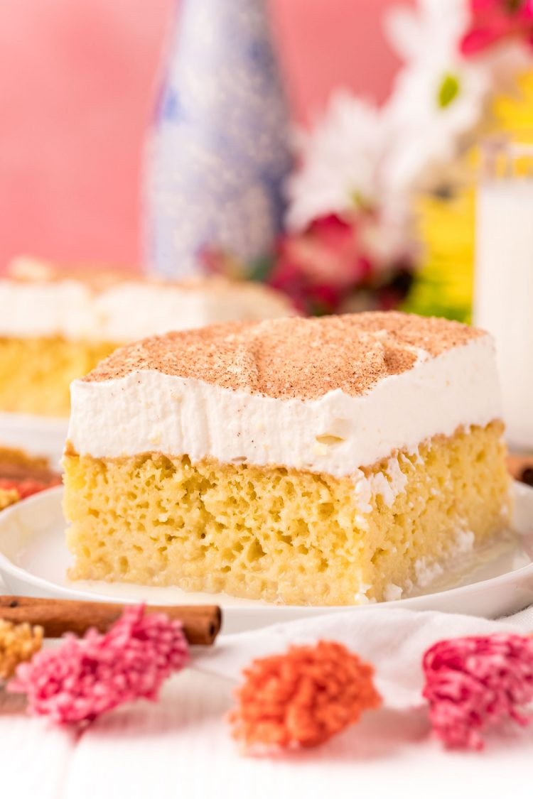 Close up photo of a slice of tres leches cake on a white plate.