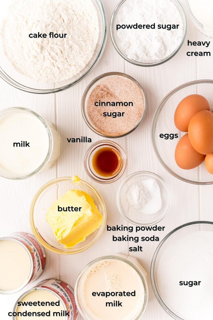 Overhead photo of ingredients used to make tres leches cake on a white table.