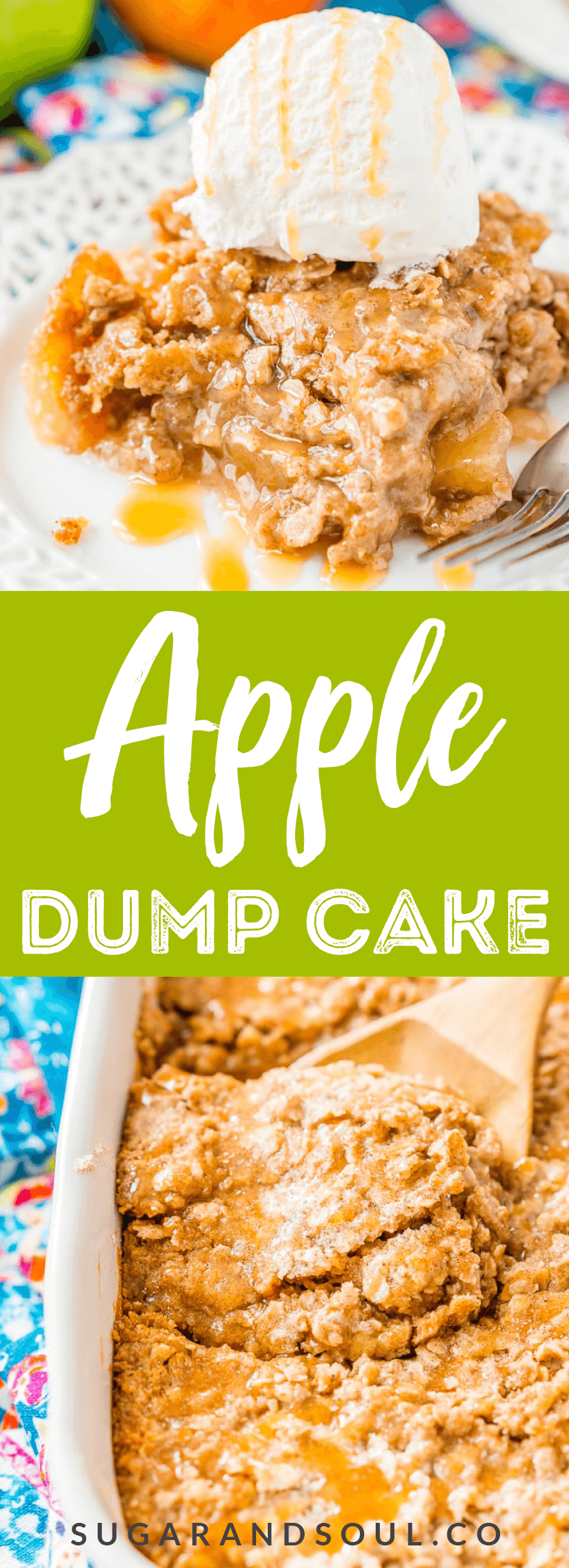 Apple Dump Cake is a 4-ingredient recipe that results in a delicious fall dessert somewhere between apple cake and apple crisp!