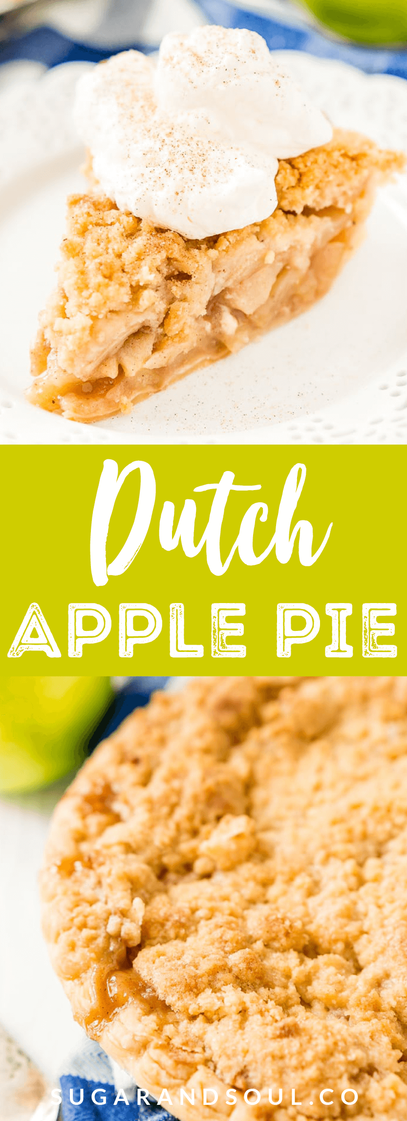 Dutch Apple Pie is made with a spiced apple filling in a flaky pie crust topped with a streusel made of flour, sugar, and butter. via @sugarandsoulco