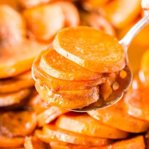 Candied Yams are a classic Thanksgiving side dish made from yams/garnet sweet potatoes and loaded with butter, sugar, honey, and spices.