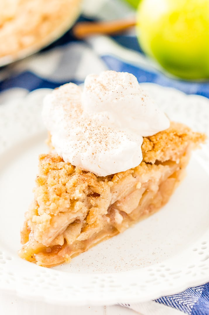 Dutch Apple Pie is made with a spiced apple filling in a flaky pie crust topped with a streusel made of flour, sugar, and butter.