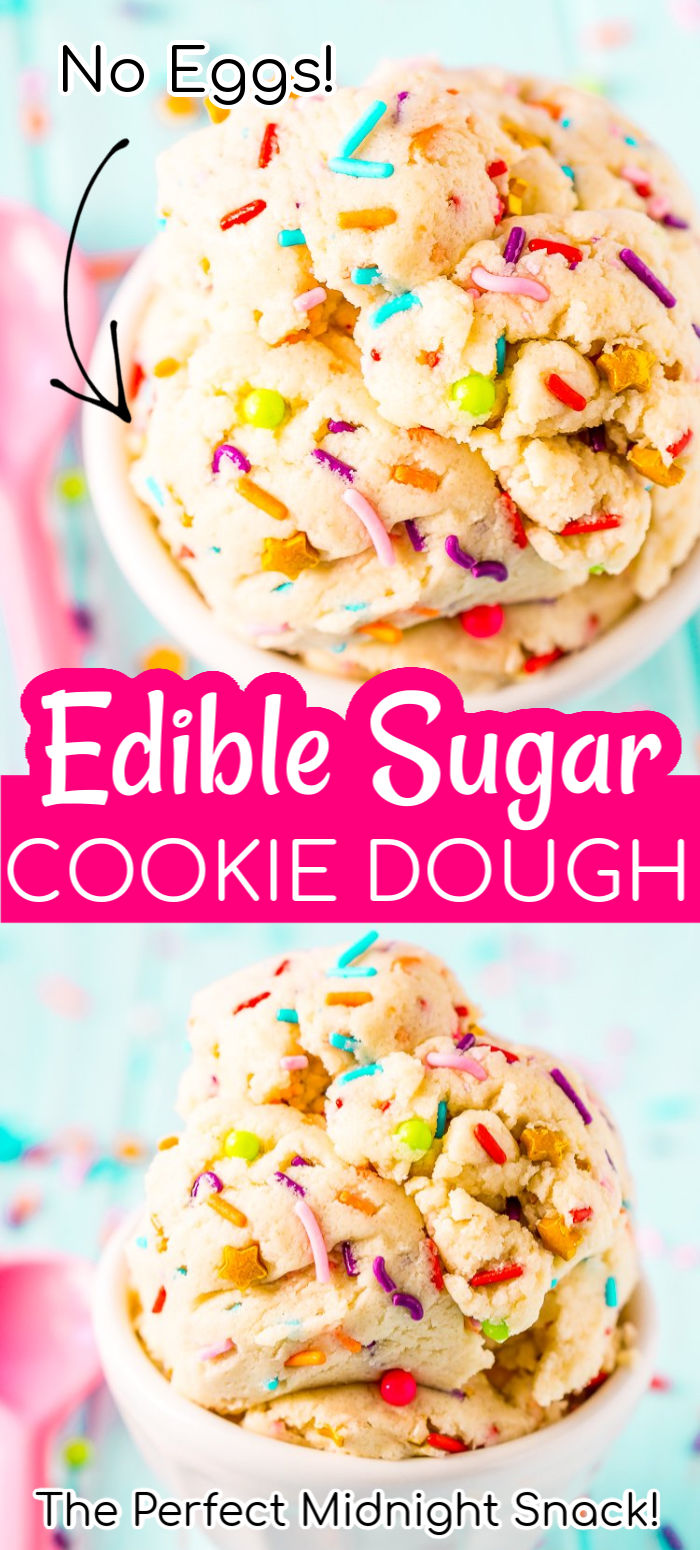Edible Sugar Cookie Dough is an easy and delicious egg-free treat perfect for parties or just when you're craving something sweet but don't want to wait for cookies to bake! via @sugarandsoulco