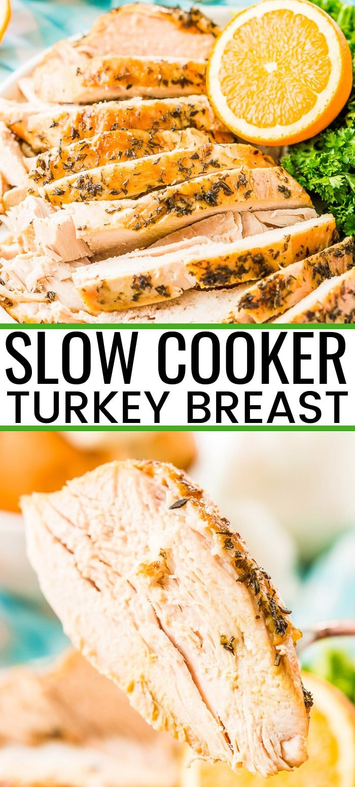 This Slow Cooker Turkey Breast is perfect for a small family or Thanksgiving dinner and the easiest way to make a juicy turkey with minimal prep and flavors of garlic, onion, and herbs. via @sugarandsoulco