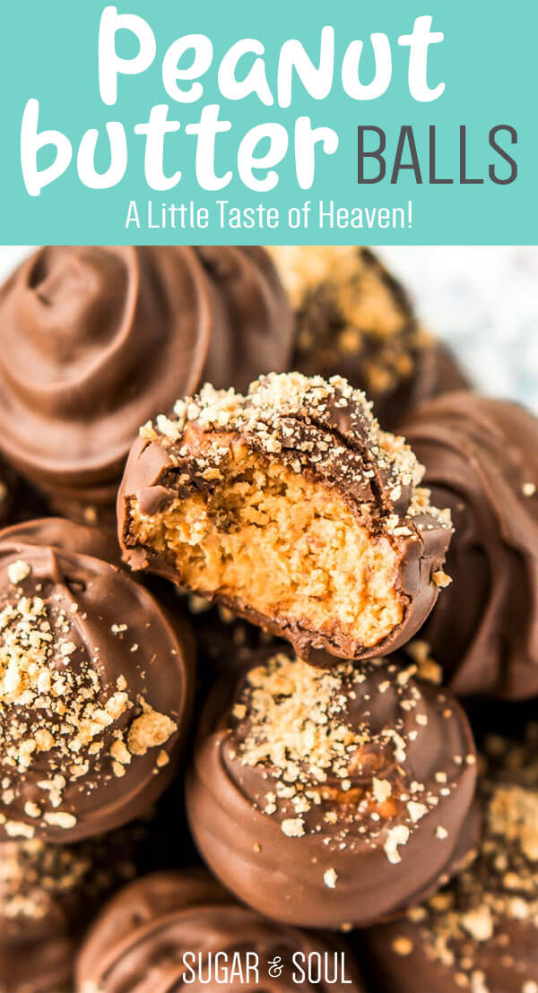 Peanut Butter Balls are a classic no-bake treat made with grahamcrackers, creamy peanut butter, powdered sugar, and chocolate! Perfect for the holidays! via @sugarandsoulco