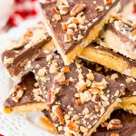 This Shortbread Christmas Crack is insanely easy to make and even more delicious! Made with shortbread cookies, butter, sugar, chocolate, pecans, and toffee bits.
