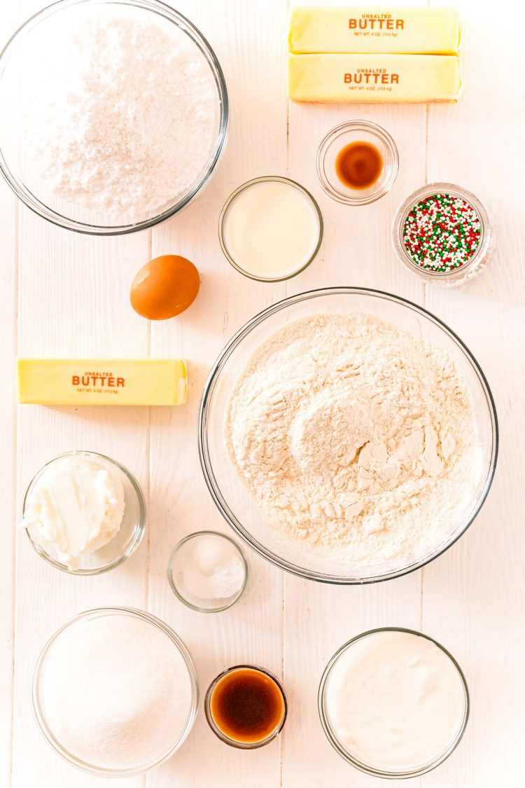 Overhead photo of ingredients used to make sugar cookies.