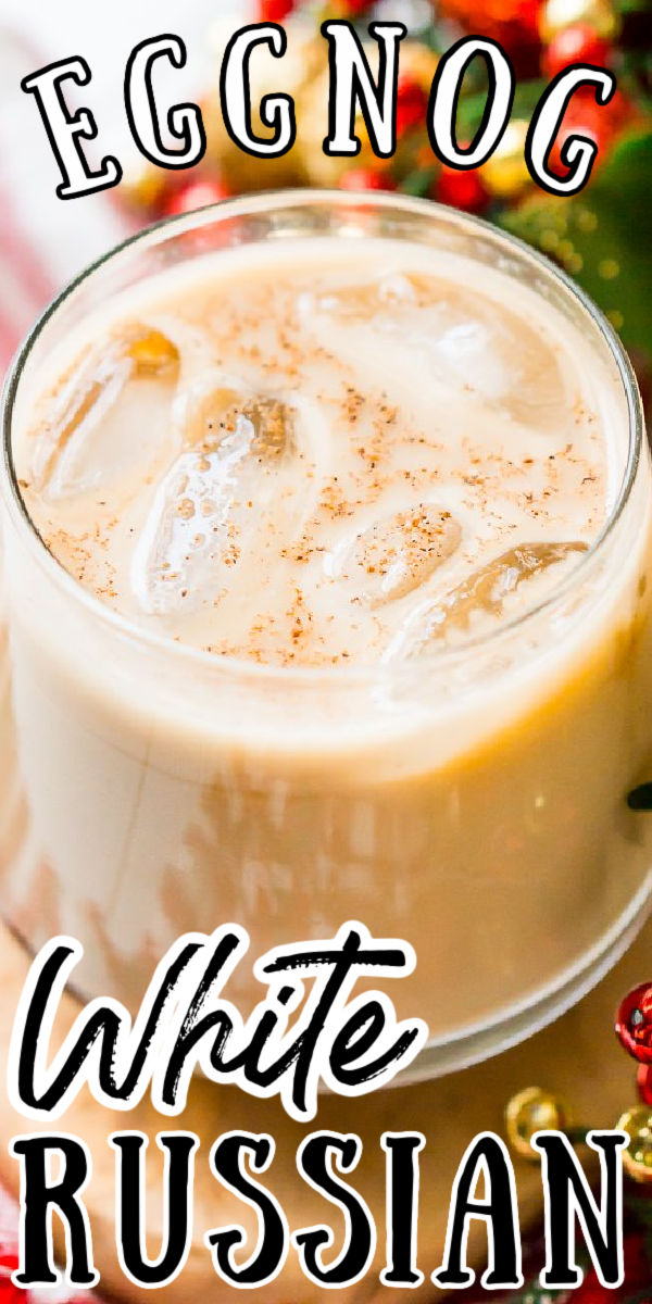 This Eggnog White Russian is a fun holiday twist on the classic vodka cocktail! Made with eggnog, coffee liqueur, vodka, and a dash of nutmeg!   via @sugarandsoulco