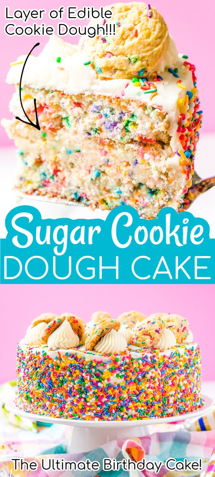 This Funfetti Sugar Cookie Dough Cake is an over the top cake made with two layers of white almond cake loaded with sprinkles and a layer of edible sugar cookie dough, then topped with classic vanilla buttercream!   via @sugarandsoulco
