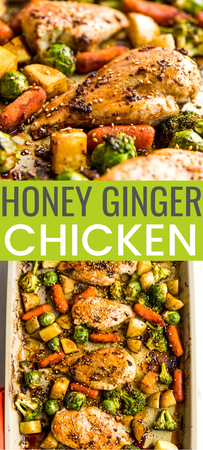 This Honey Ginger Chicken Sheet Pan Dinner is an easy Asian-inspired dish made with a tangy homemade sauce. You only need one pan to make it, so cleanup is a breeze! via @sugarandsoulco
