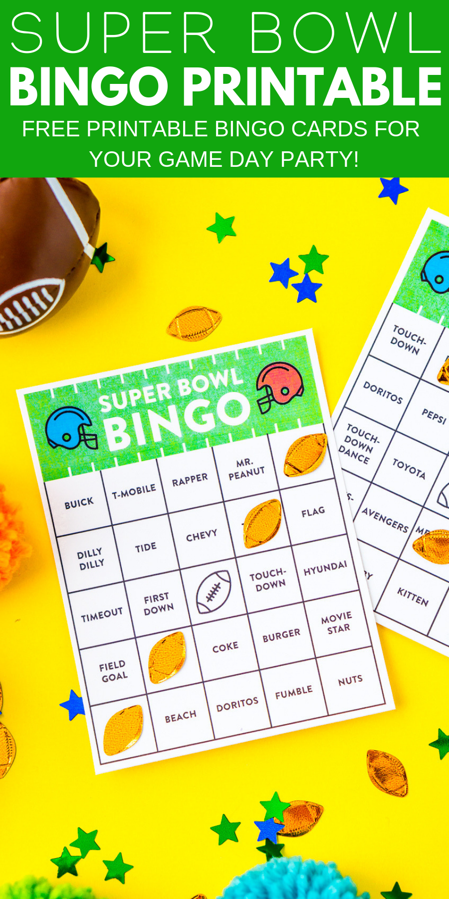 These Free Printable Super Bowl Bingo Cards are a fun way to add even more entertainment to your party, 16 different bingo cards that are great for all ages!