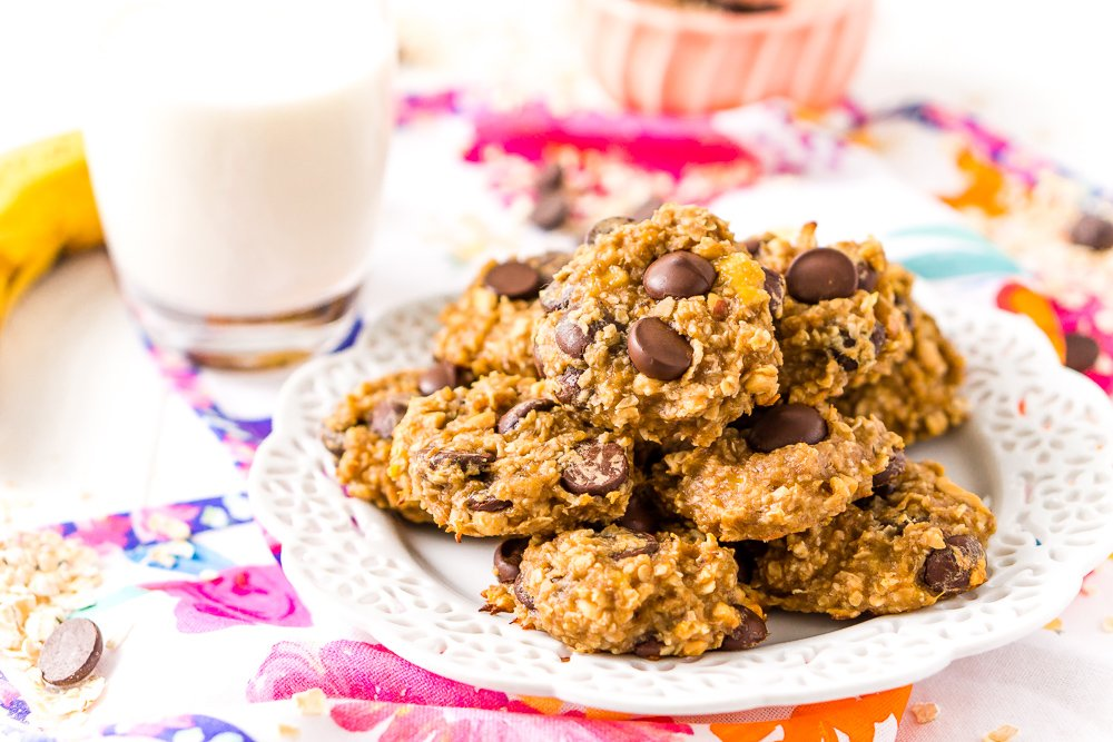 Banana Oatmeal Cookies with chocolate chips on white plate.