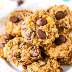Peanut Butter Banana Oatmeal Cookies on plate.