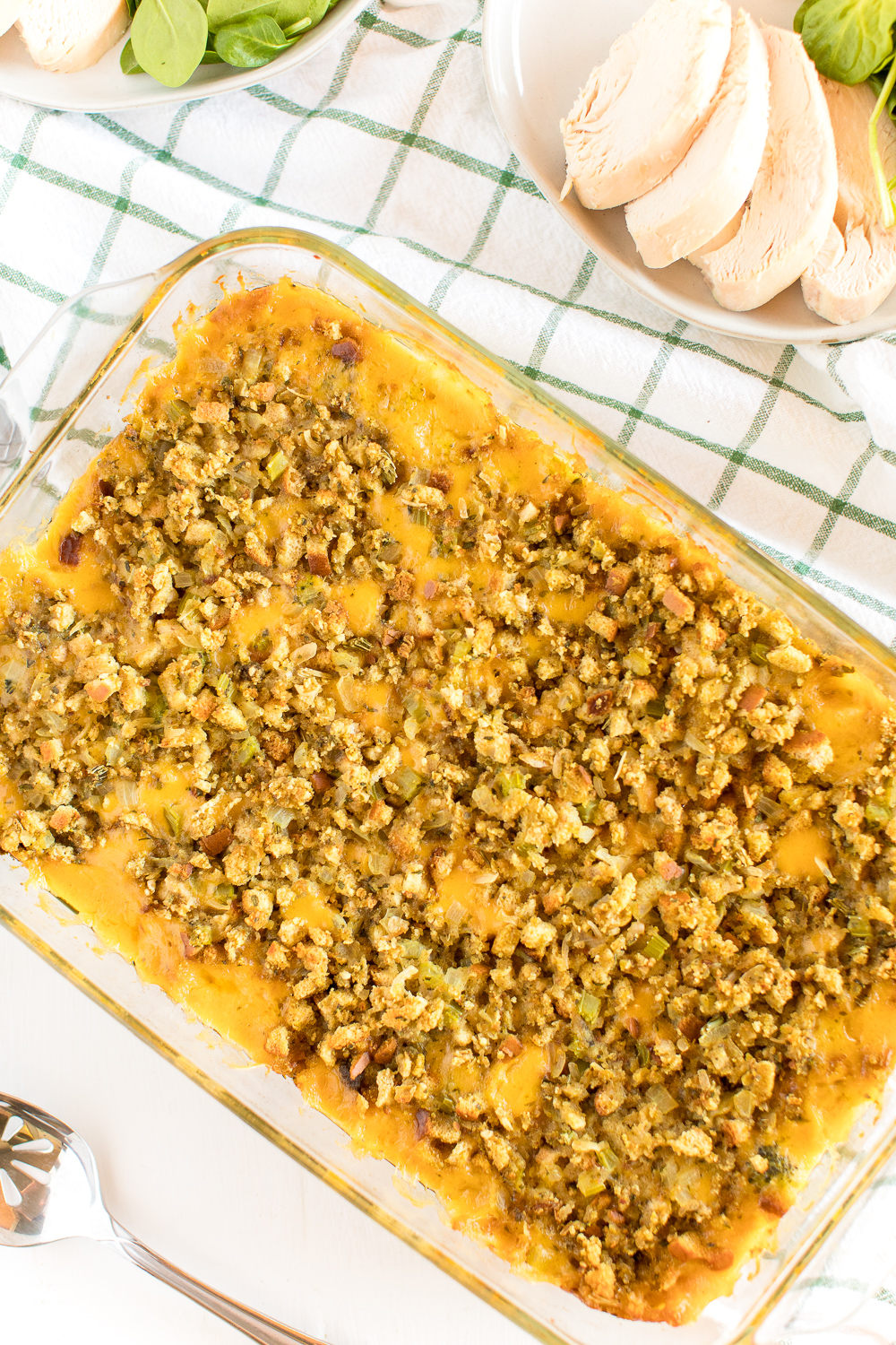 Broccoli Cheese Casserole in 9x13-inch baking dish.