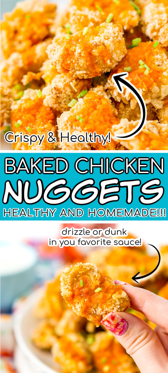 Baked Chicken Nuggets are a healthier alternative to the classic fried version and kids will love these homemade nuggets breaded in crushed tortilla chips and rice krispies cereal! via @sugarandsoulco