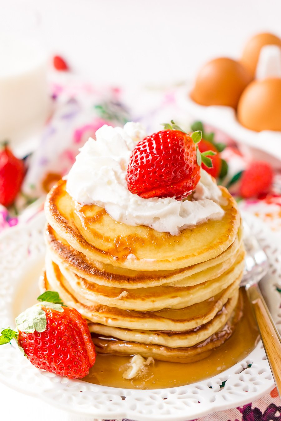 Cream Cheese Pancakes put a tasty twist on a traditional breakfast favorite! They have a decadent flavor with a dense yet fluffy texture for a dish that the whole family will love.