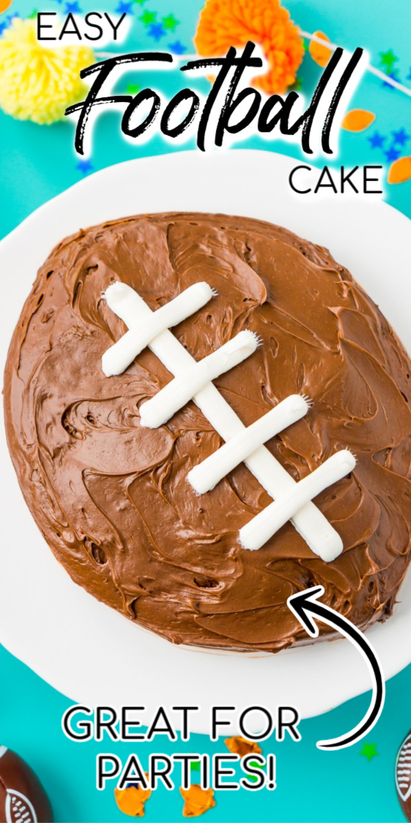 This Easy Football Cake is the perfect game day dessert! Use this simple step-by-step tutorial to make this recipe for your next football party! via @sugarandsoulco