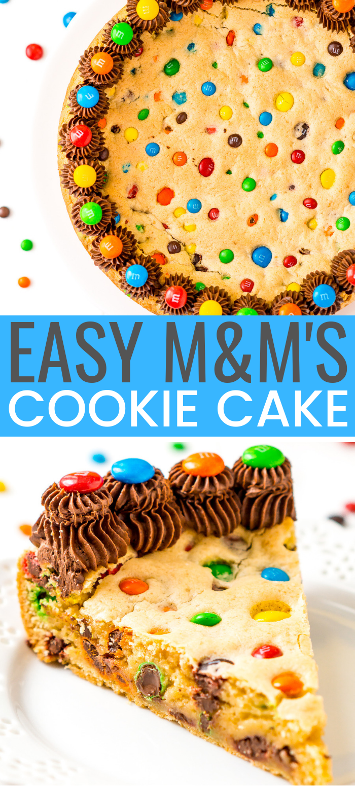 This M&M's Cookie Cake Recipe is a fun and easy dessert recipe the whole family will enjoy. A giant cookie made with M&M's and chocolate frosting for even more deliciousness!