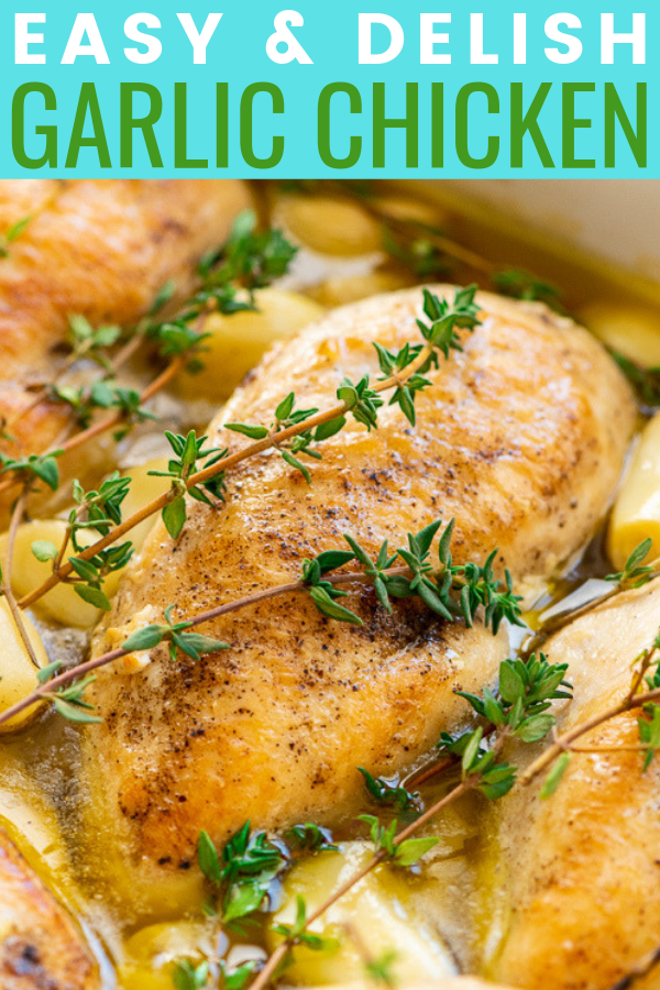 Garlic Chicken is a delicious dairy-free dinner recipe that's easy enough for weeknights and refined enough for special occasions. Made with chicken, garlic, olive oil, thyme, salt, and pepper.