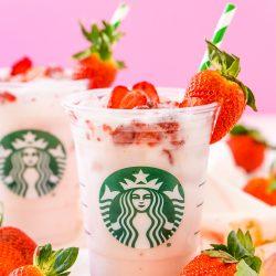 Deze Copycat Starbucks Pink Drink is een goedkoper en net zo lekker recept om je favoriete fruitige Starbucks drankje thuis te maken met acai bessen thee, kokosmelk, witte druivensap, eenvoudige siroop en gevriesdroogde aardbeien!