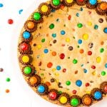Overhead shot of Cookie Cake with M&M's.
