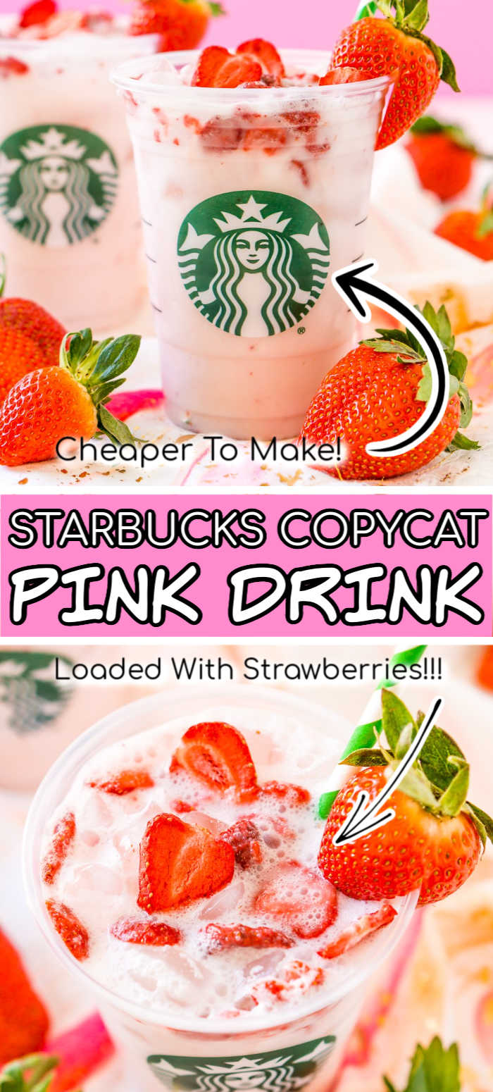 This Copycat Starbucks Pink Drink is a cheaper and just as delicious recipe to make your favorite fruity Starbucks beverage right at home with acai berry tea, coconut milk, white grape juice, simple syrup, and freeze-dried strawberries! via @sugarandsoulco