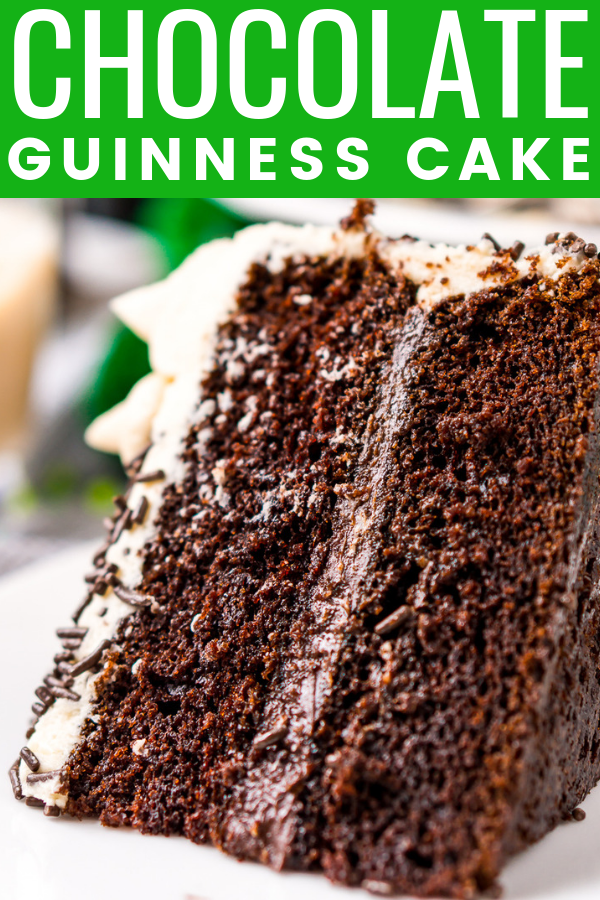 Chocolate Guinness Cake is made with a rich and tender chocolate cake laced with smooth stout with a chocolate ganache filling and a decadent Irish Cream Frosting! via @sugarandsoulco