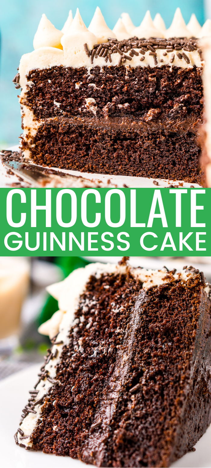 This Chocolate Guinness Cake is made with a rich and tender chocolate cake laced with smooth stout with a chocolate ganache filling and a decadent Irish Cream Frosting! Perfect for St. Patrick's Day! via @sugarandsoulco
