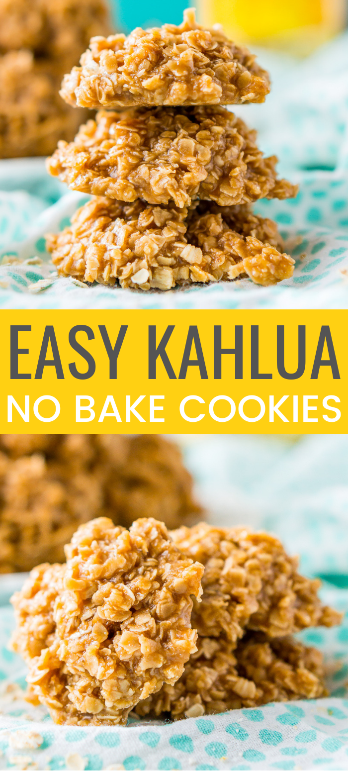 These Kahlua No Bake Cookies are a quick and delicious boozy dessert made with everyone's favorite coffee liqueur, oatmeal, sugar, and pudding! via @sugarandsoulco