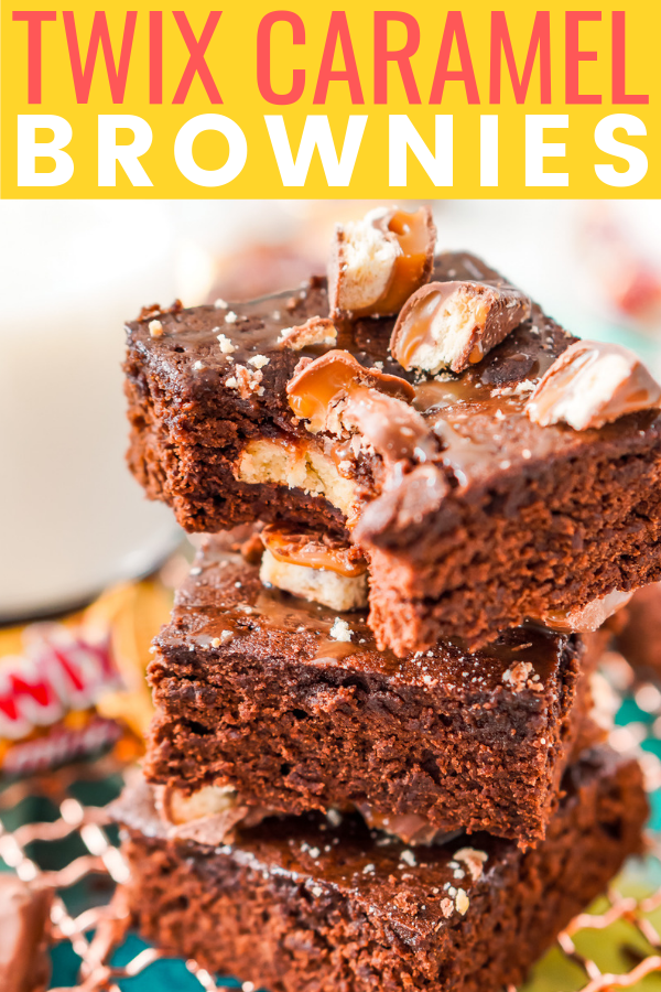 These Twix Caramel Brownies are a delicious cake-like brownie with Twix candy bars baked in, then drizzled with caramel and topped with more candy bar crumbles.