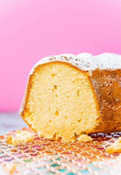 Cream Cheese Pound Cake is a slight twist on the classic recipe and is dense, sweet, and tender and the only pound cake recipe you will ever need! Serve it plain or with fresh fruit, whipped cream, or a homemade strawberry or chocolate sauce!