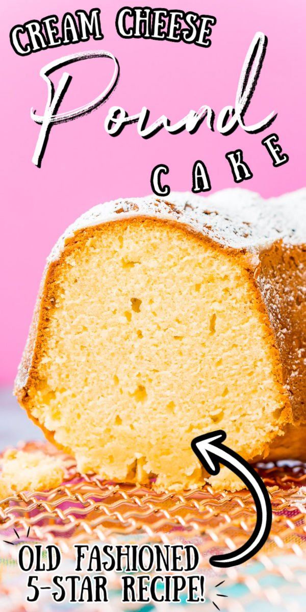 Cream Cheese Pound Cake is a slight twist on the classic recipe and is dense, sweet, and tender and the only pound cake recipe you will ever need! Serve it plain or with fresh fruit, whipped cream, or a homemade strawberry or chocolate sauce! via @sugarandsoulco