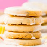 Stack of five Earl Grey Shortbread Cookies with pink background.