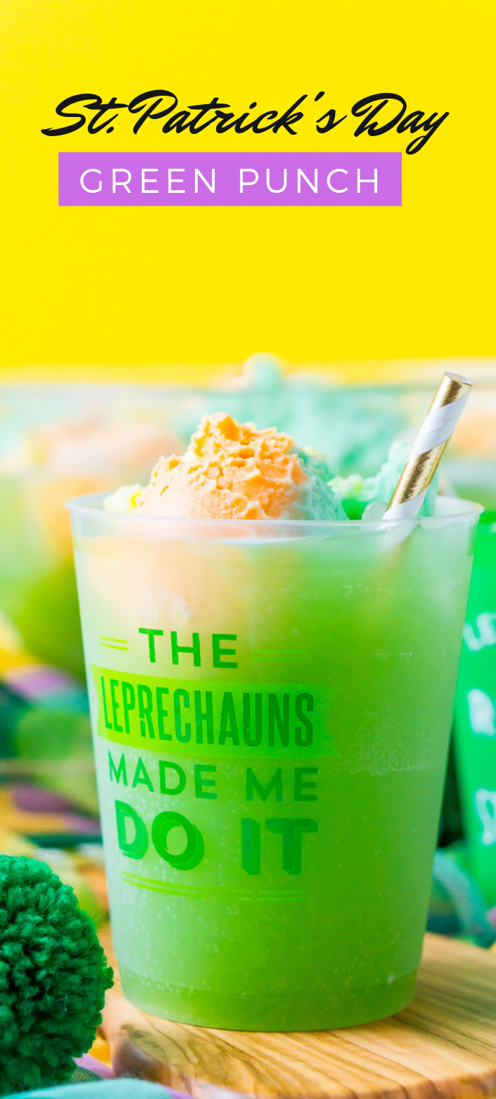 St. Patrick's Day Punch is a quick, easy, and fun green punch recipe made with grape juice, orange juice, lemon-lime soda, and rainbow sherbet! This sweet and fizzy drink recipe is sure to delight any Leprechaun! via @sugarandsoulco