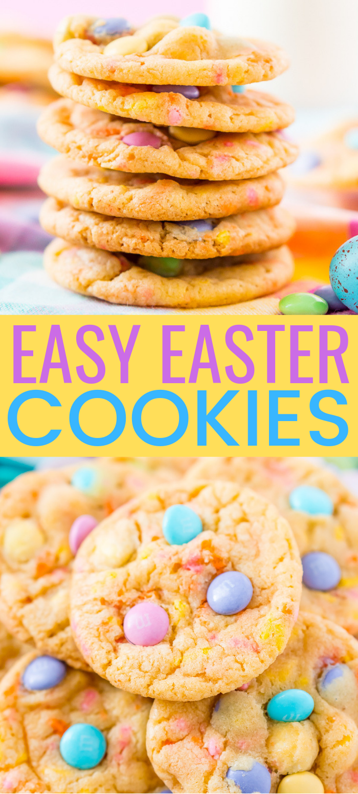 These Easter Cake Mix Cookies are loaded with pastel sprinkles and M&M's, folded into a delicious cookie dough made with cake mix! via @sugarandsoulco