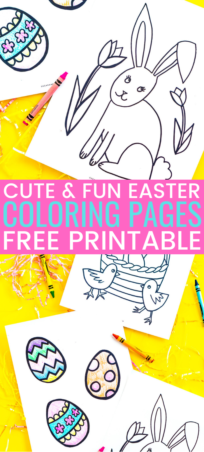 These Easter Coloring Pages are a free printable activity for kids to do and celebrate the spring holiday! Three different Easter coloring sheets with Easter egg, bunny, and chick designs! via @sugarandsoulco