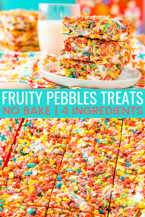 These Fruity Pebbles Treats are a fun and fruity twist on the classic no-bake dessert made with Rice Krispies cereal. They are made with the perfect blend of cereal, butter, and marshmallows and take just 7 minutes to prepare! via @sugarandsoulco