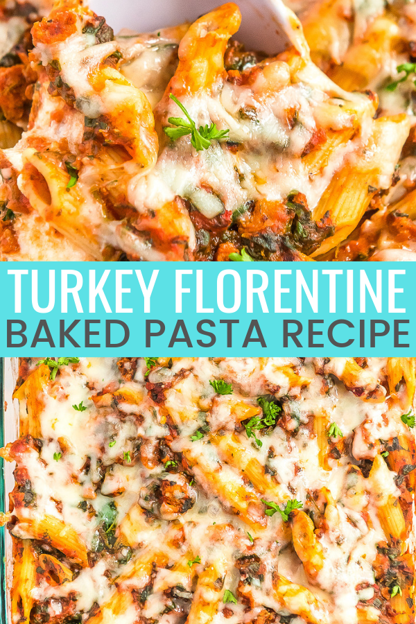This Turkey Florentine Pasta Bake combines lean ground turkey with spinach and marinara for a simple baked pasta dish the whole family will love!