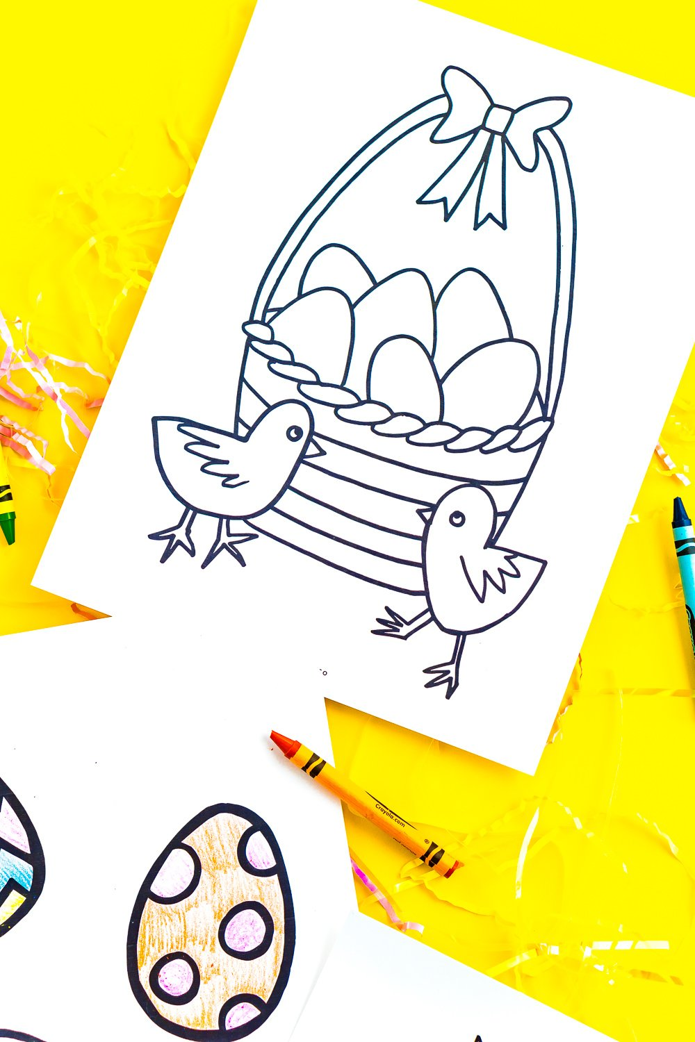 Printable coloring page with an easter basket and chick design on a yellow background.