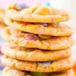 Close up photo of cookies stacked on top of eachother.