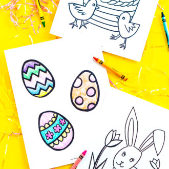 These Easter Coloring Pages are a free printable activity for kids to do and celebrate the spring holiday! Three different Easter coloring sheets with Easter egg, bunny, and chick designs!