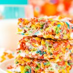 These Fruity Pebbles Treats area fun and fruity twist on the classic no-bake dessert made with Rice Krispies cereal. They take just 7 minutes to prepare!