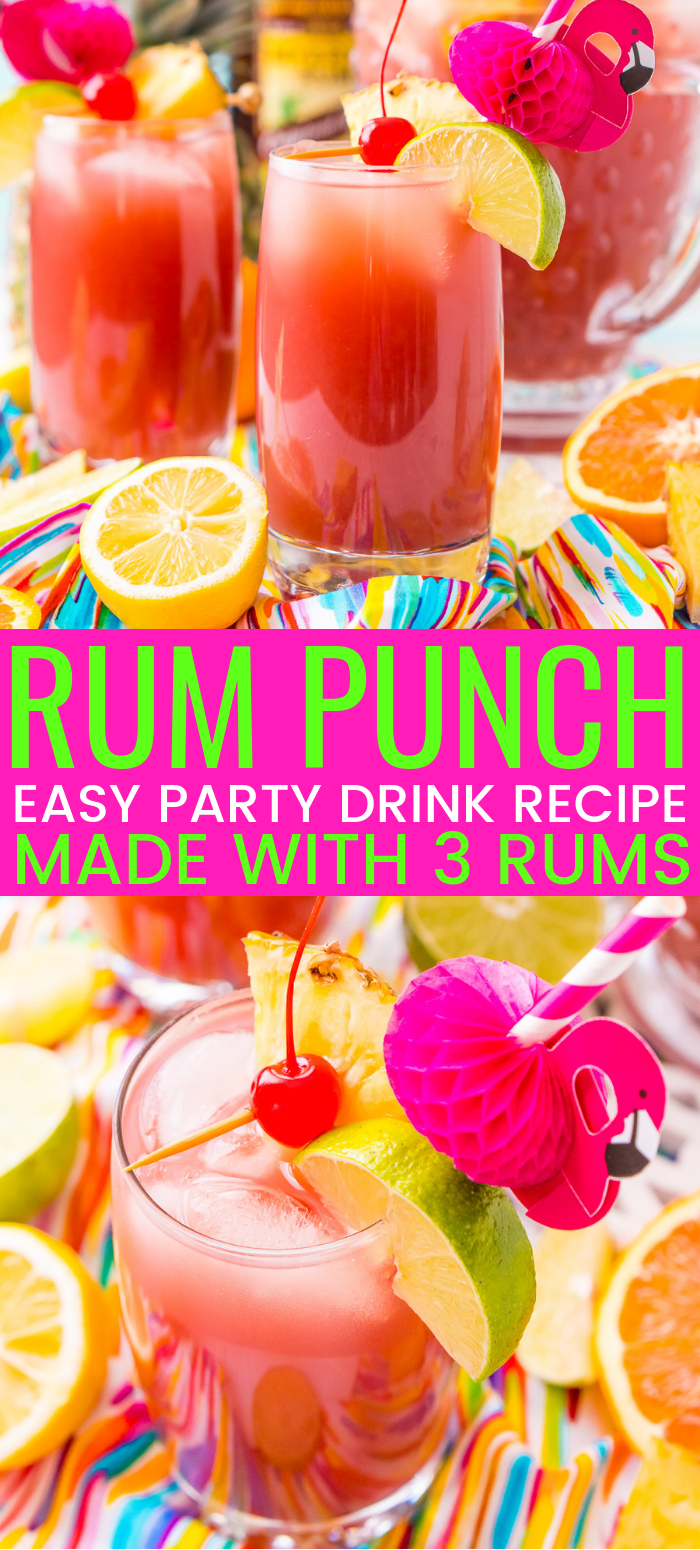 Rum Punch combines orange, pineapple, lime, and lemon juice with ginger ale and three different kinds of rum for a delicious large batch Caribbean inspired cocktail for summer parties! via @sugarandsoulco