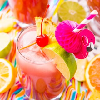 Rum Punch combines orange, pineapple, lime, and lemon juice with ginger ale and three different kinds of rum for a delicious large batch Caribbean inspired cocktail for summer parties!