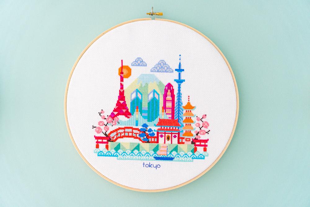 Tokyo cross-stitch hoop art