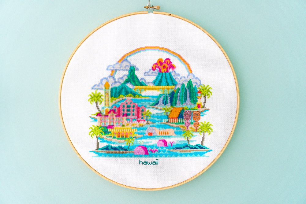 Hawaii cross-stitch hoop art