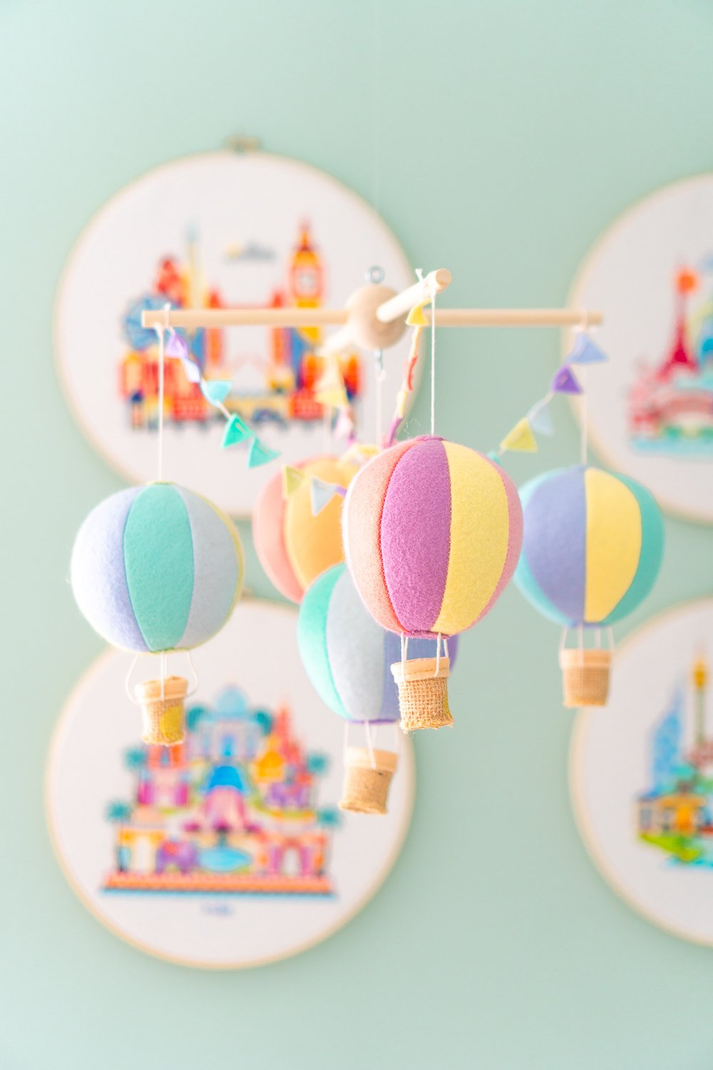Felt hot air balloon mobile for nursery
