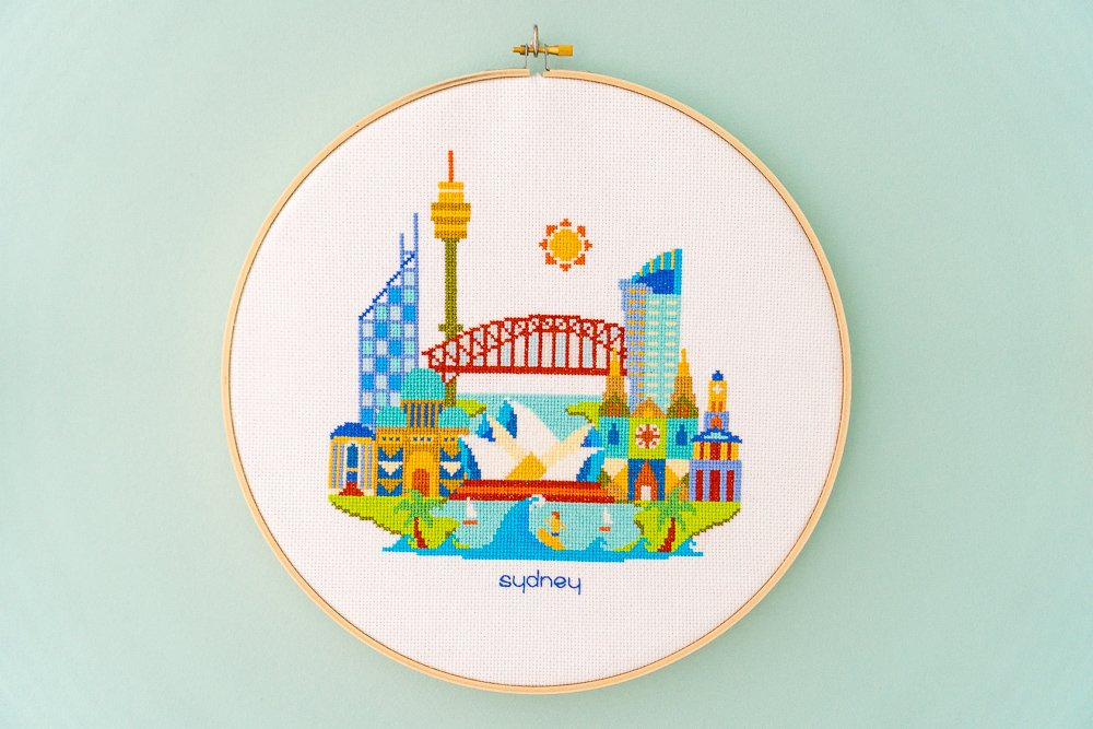 Sydney Cross-stitch Hoop Art