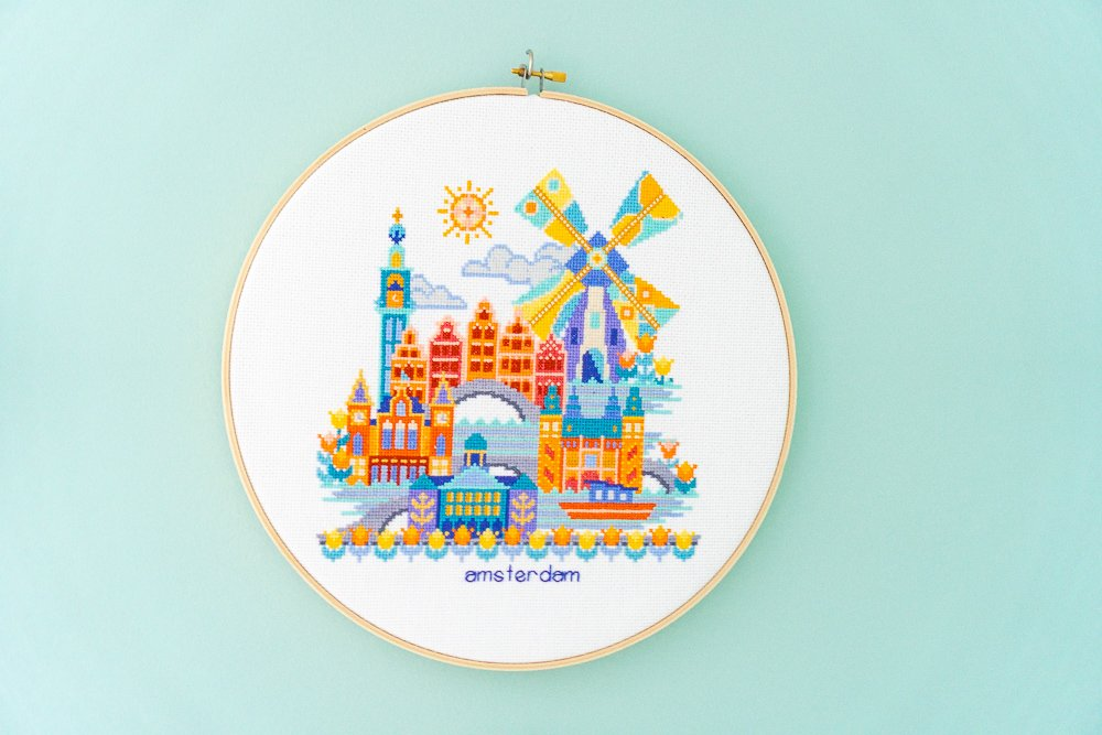 Amsterdam cross-stitch hoop art